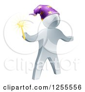 Clipart Of A 3d Silver Wizard Holding A Star Wand Royalty Free Vector Illustration by AtStockIllustration