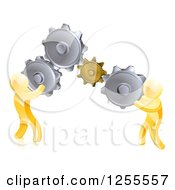 Clipart Of 3d Gold Men Connecting Two Giant Gear Cogs Royalty Free Vector Illustration