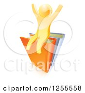 Clipart Of A 3d Gold Guy Cheering On Books Royalty Free Vector Illustration by AtStockIllustration