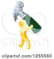 Clipart Of A 3d Gold Man Carrying A Giant Hammer Royalty Free Vector Illustration