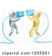 Clipart Of Team Of 3d Silver And Gold Men Connecting Electrical Plugs Royalty Free Vector Illustration