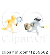 Clipart Of A 3d Gold Detective Chasing A Silver Robber With A Magnifying Glass Royalty Free Vector Illustration by AtStockIllustration