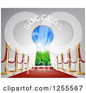 Clipart Of 3d SUCCESS Over A Keyhole Door With Light And A Red Carpet Royalty Free Vector Illustration by AtStockIllustration