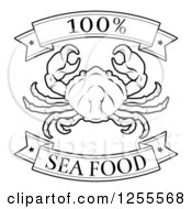 Clipart Of A Black And White 100 Percent Seafood Food Banners And Crab Royalty Free Vector Illustration by AtStockIllustration
