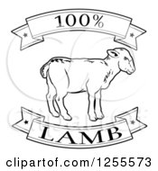 Clipart Of A Black And White 100 Percent Lamb Food Banners Royalty Free Vector Illustration