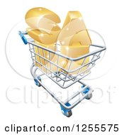 Clipart Of A 3d Shopping Cart With Golden SALE Inside Royalty Free Vector Illustration by AtStockIllustration