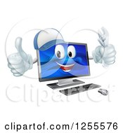 Clipart Of A Happy Computer Mascot Holding A Wrench And Thumb Up Royalty Free Vector Illustration by AtStockIllustration