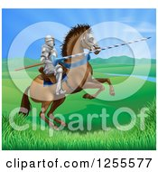 Clipart Of A 3d Knight Holding A Jousting Lance On A Rearing Horse In A Valley Royalty Free Vector Illustration