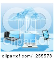 Clipart Of A 3d Cloud Electrifying A Network Of Computers And A Cell Phone Over A Map Royalty Free Vector Illustration by AtStockIllustration
