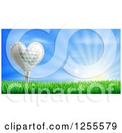 3d Heart Golf Ball On A Tee Over A Sunrise