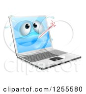 Clipart Of A 3d Sick Laptop With A Bursting Thermometer Royalty Free Vector Illustration by AtStockIllustration
