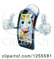 Clipart Of A 3d Smart Phone Character Wearing A Hat Holding A Thumb Up And An Adjustable Wrench Royalty Free Vector Illustration