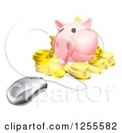 Clipart Of A 3d Computer Mouse Wired To A Piggy Bank With Gold Coins Royalty Free Vector Illustration by AtStockIllustration