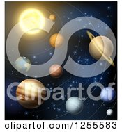 Clipart Of The Solar System With Orbit Rings Royalty Free Vector Illustration by AtStockIllustration