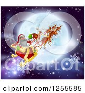 Clipart Of Santa Flying His Sleigh Over A Moon Royalty Free Vector Illustration