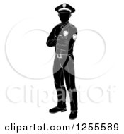 Clipart Of A Black And White Silhouetted Police Man Standing With Folded Arms Royalty Free Vector Illustration by AtStockIllustration