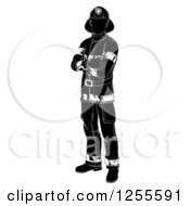 Clipart Of A Black And White Silhouetted Fireman Standing With Folded Arms Royalty Free Vector Illustration