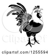 Clipart Of A Black And White Rooster Crowing Royalty Free Vector Illustration by AtStockIllustration