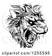 Clipart Of A Roaring Lion Mascot Head In Black And White Royalty Free Vector Illustration by AtStockIllustration