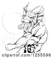 Clipart Of A Black And White Muscular Dragon Man Punching Royalty Free Vector Illustration