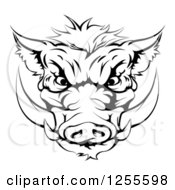 Clipart Of A Black And White Aggressive Boar Mascot Head Royalty Free Vector Illustration