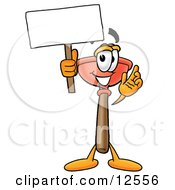 Sink Plunger Mascot Cartoon Character Holding A Blank Sign