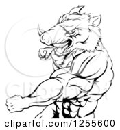 Clipart Of A Black And White Muscular Boar Man Punching Royalty Free Vector Illustration by AtStockIllustration