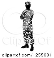 Clipart Of A Black And White Silhouetted Army Soldier Standing With Folded Arms Royalty Free Vector Illustration by AtStockIllustration