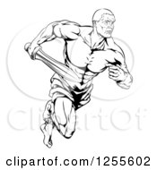 Clipart Of A Black And White Muscular Gladiator Running With A Sword Royalty Free Vector Illustration