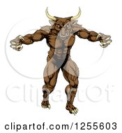 Clipart Of A Mad Brown Bull Mascot Attacking Royalty Free Vector Illustration