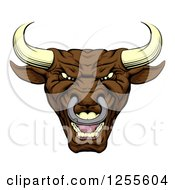 Clipart Of A Mad Brown Bull Mascot Head Royalty Free Vector Illustration by AtStockIllustration