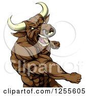 Tough Brown Bull Or Minotaur Mascot Punching