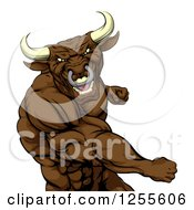 Clipart Of A Mad Brown Bull Or Minotaur Mascot Punching Royalty Free Vector Illustration