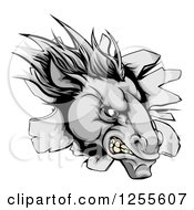 Clipart Of An Aggressive Gray Horse Stallion Breaking Through A Wall Royalty Free Vector Illustration