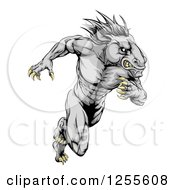 Clipart Of A Muscular Aggressive Gray Stallion Horse Man Running Royalty Free Vector Illustration
