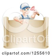 Clipart Of A Brunette Male Plumber Holding A Plunger And Pointing Down At A Scroll Sign Royalty Free Vector Illustration