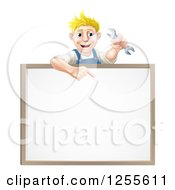 Clipart Of A Happy Blond Caucasian Mechanic Man Holding A Wrench Over A White Board Sign Royalty Free Vector Illustration