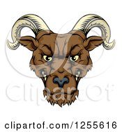 Clipart Of A Snarling Ram Head Royalty Free Vector Illustration by AtStockIllustration