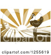 Clipart Of A Sunrise Over A Brown Silhouetted Farm House With A Crowing Rooster And Fields Royalty Free Vector Illustration