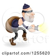 Clipart Of A Caucasian Male Burglar Shining A Flashlight Royalty Free Vector Illustration