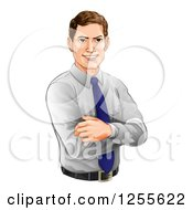 Clipart Of A Happy Caucasian Businessman With Folded Arms Royalty Free Vector Illustration