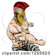 Clipart Of A Strong Spartan Warrior Mascot Punching Royalty Free Vector Illustration