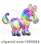 Clipart Of A Rainbow Striped Zebra Royalty Free Vector Illustration by AtStockIllustration