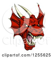 Clipart Of A Roaring Red Dragon Head Royalty Free Vector Illustration by AtStockIllustration