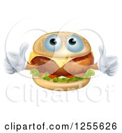 Clipart Of A Pleased Cheeseburger Holding Two Thumbs Up Royalty Free Vector Illustration by AtStockIllustration