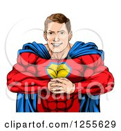 Clipart Of A Cacuasian Muscular Super Hero Man Gesturing Bring It With His Fists Royalty Free Vector Illustration