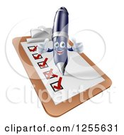 Clipart Of A Pen Completing A Survey Royalty Free Vector Illustration by AtStockIllustration