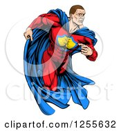 Clipart Of A Cacuasian Muscular Super Hero Man Running Royalty Free Vector Illustration by AtStockIllustration