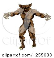 Clipart Of A Muscular Wolf Man Attacking Royalty Free Vector Illustration