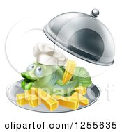 Clipart Of A Happy Fish With Chips French Fries On A Platter Royalty Free Vector Illustration
